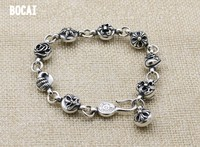 925 sterling silver personality Scout flower bracelets simple vintage handmade fashion men's and women's jewelry