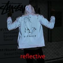 All 3M Reflective RIPNDIP Men Women Jacket Windbreaker High Quality Hoodie Hop Brand Clothing Yeezy RIPNDIP Bomber Unisex Coat