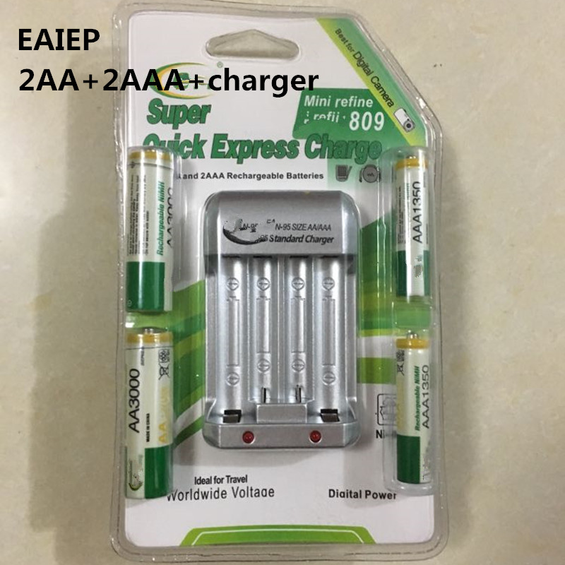 High Quanlity Rechargeable Battery 2AA+2AAA  NI-MH 1.2V 2A With Standard Battery Charger EU Battery Baterias Bateria