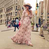 Ретро Винтаж цветочные печатные длинные платья Vestidos полный рукав v-образным вырезом Высокая талия Свободные Бохо пляжное платье XXL