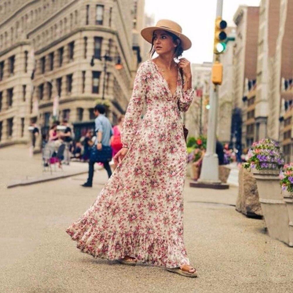 Retro Vintage Floral Printed Long Dresses Vestidos Full Sleeve V-Neck High Waist Loose Boho Beach Dress XXL