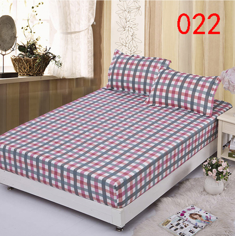 plaid polyester fitted sheet single double bed sheets fitted cover twin full queen mattress cover bedspread