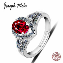 Joseph Mola 925 Sterling Silver Ring Ruby Gemstone Cubic Zirconia Crystal Resizable For Women Engagement Fine Jewelry Gift