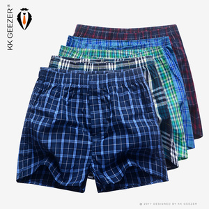 Image 1 - Mens Underwear Boxers Shorts Casual Cotton Sleep Underpants Packag High Quality Plaid Loose Comfortable Homewear Striped Panties