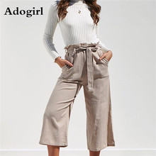 купить High Waist Women Pants Cotton Linen Four-color Band with broad legs  Summer Ladies Trousers Pants Flare Ruffle Frill Pants дешево