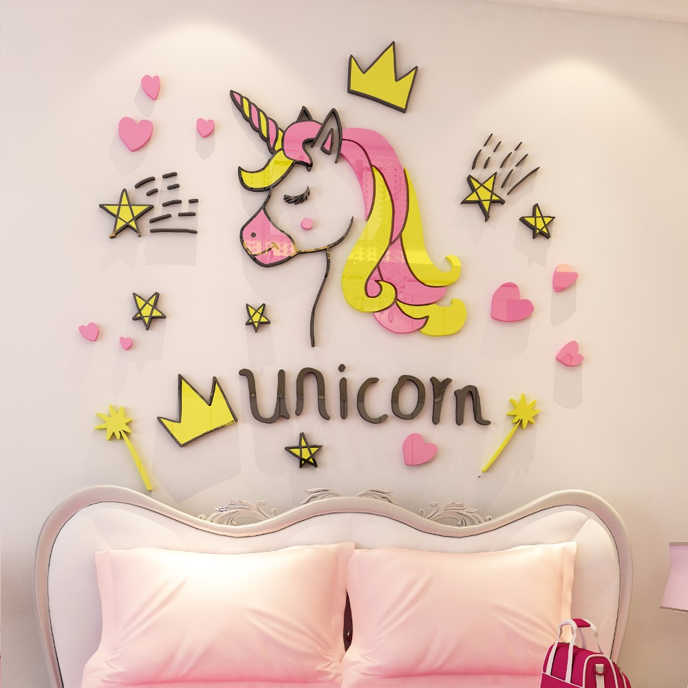 Creative INS dreamy unicorn DIY Childrens room bedroom home living TV background wall decoration 3D acrylic stickers