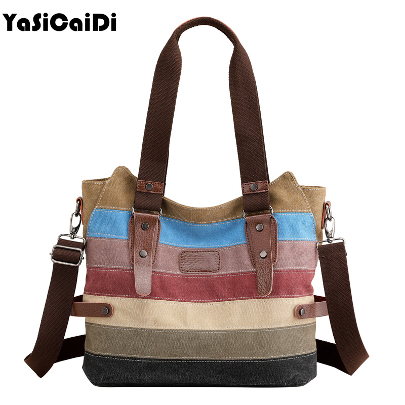 High Quality Women Canvas Shoulder Bag Famous Brand Messenger Bags Ladies Striped Women Bags Large Capacity Crossbody Bags Sac emma yao women bag leahter shoulder bags famous brand crossbody bags