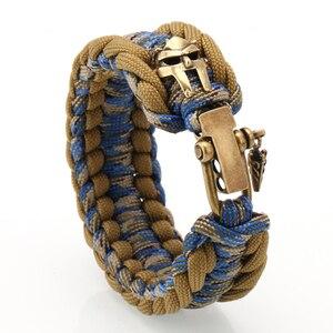 Image 1 - Homens pulseira sobrevivência paracord pulseiras grilhão fivela artesanal teceu paracord acampamento ao ar livre pulseira presentes dos homens