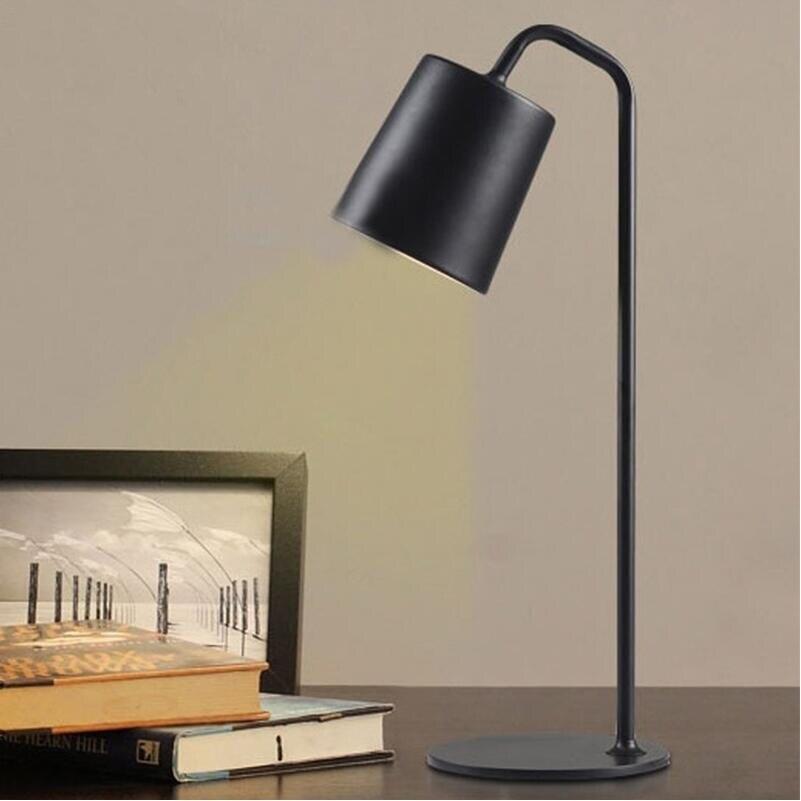 Современный H55cm коленом из кованого железа желтый железный Настольный светильник настольные лампы для спальни e27 светодиодная лампа для прикроватной учебы комнаты, офиса, Белый/Черный настольные лампы - 5