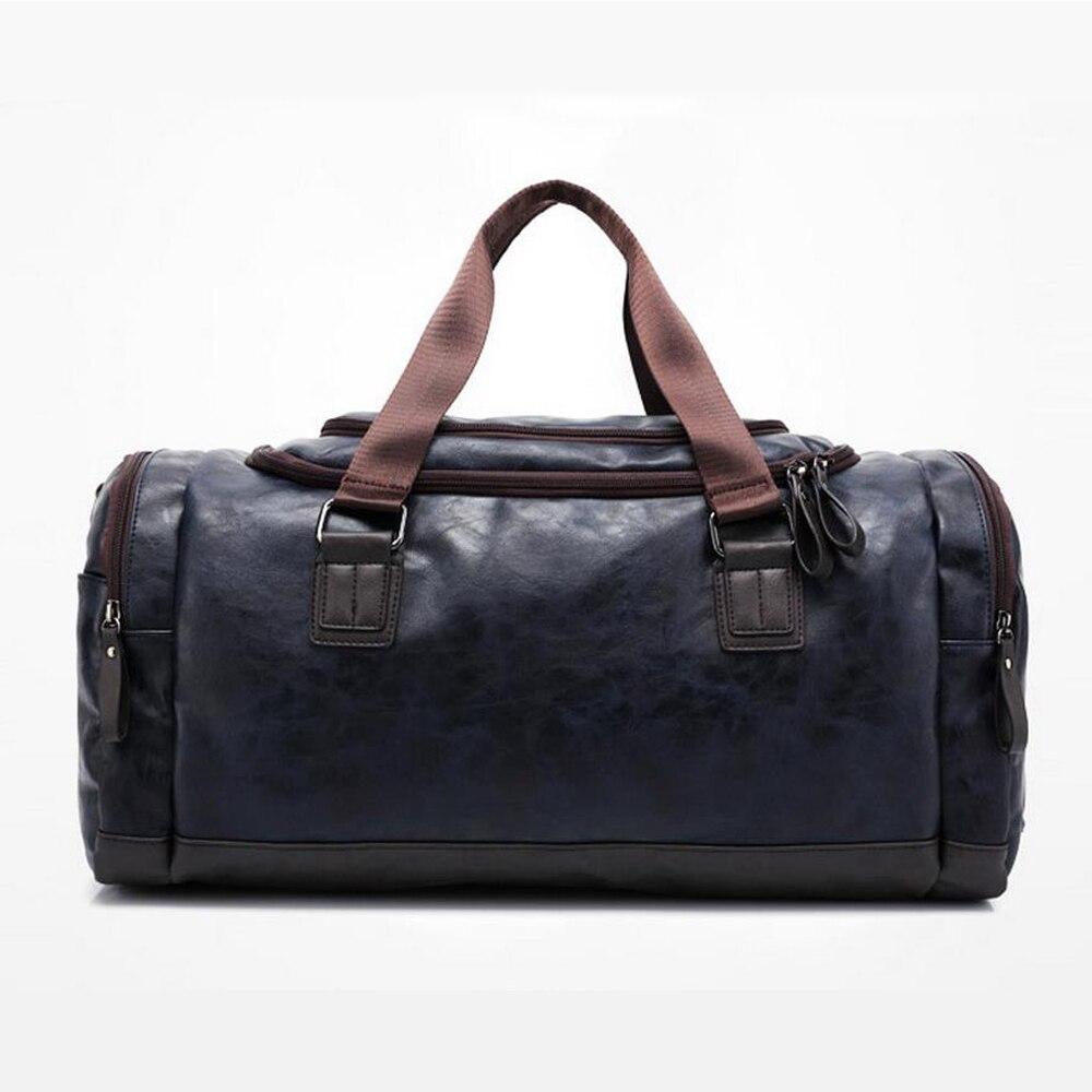 New high qual PU leather travel bag Men duffel bag large capacity bags with shoulder Strap shoulder bag leahter Handbag for Male 3