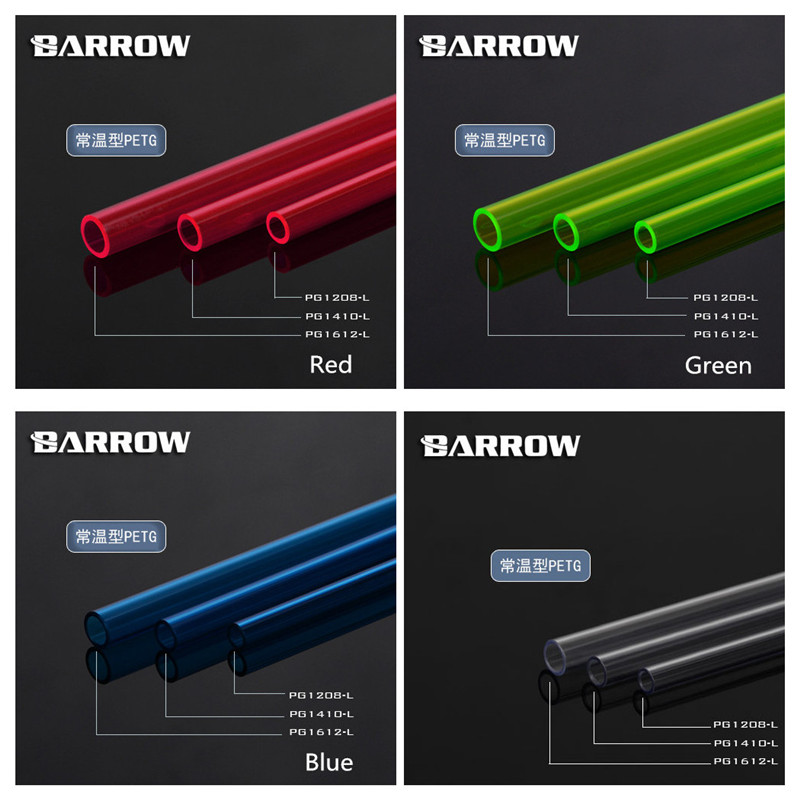 Barrow PETG Tubing Multicolor Normal Temperature Type Water Cooling Hard Pipe Transparent/Blue (UV) / Green(UV)/ Red(UV)