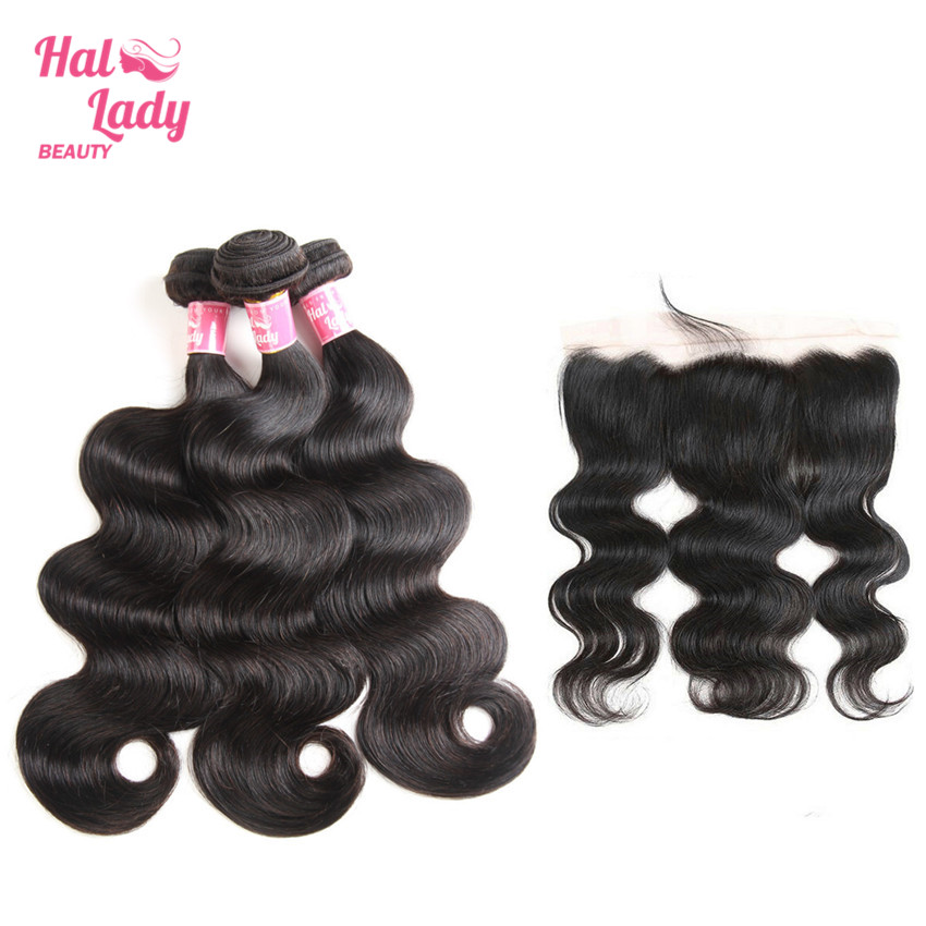 Body Wave Brazilian Hair Weave Human Hair Bundle With Lace Frontal 3 Bundles With 13X4 Lace Front Alipearl Pre- Plucked Non-Remy