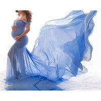 2019 Casual Pregnancy Chiffon Dress Bohemian Maternity Long Maxi Gown Solid Off Shoulder Pregnant Dress