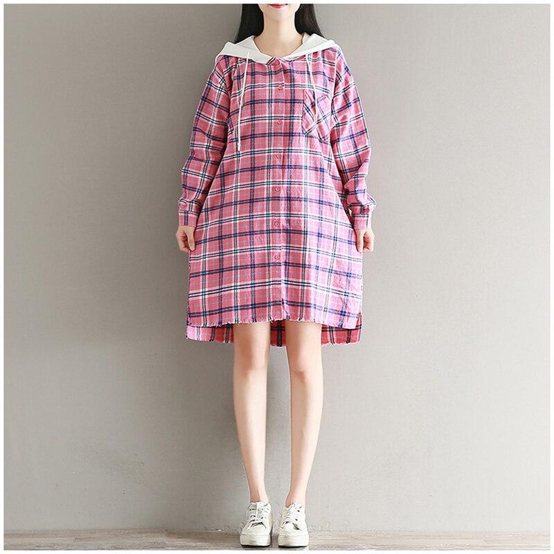 Spring Autumn cotton women dress 2018 new long sleeve plue size Hooded plaid vintage shirt dress female loose casual vestidos ...