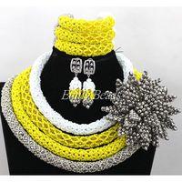 Nigerian Traditional Wedding Costume African Beads Jewelry Set Handmade Flower Crystal Beads Jewelry Set Free Shipping ALJ026