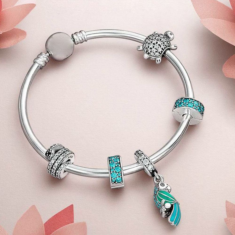 BEST 100% 925 Sterling Silver 1:1 Turtle with cubic Beaded TROPICAL PARROT HANGING CHARM Bangle Natural Gift Set