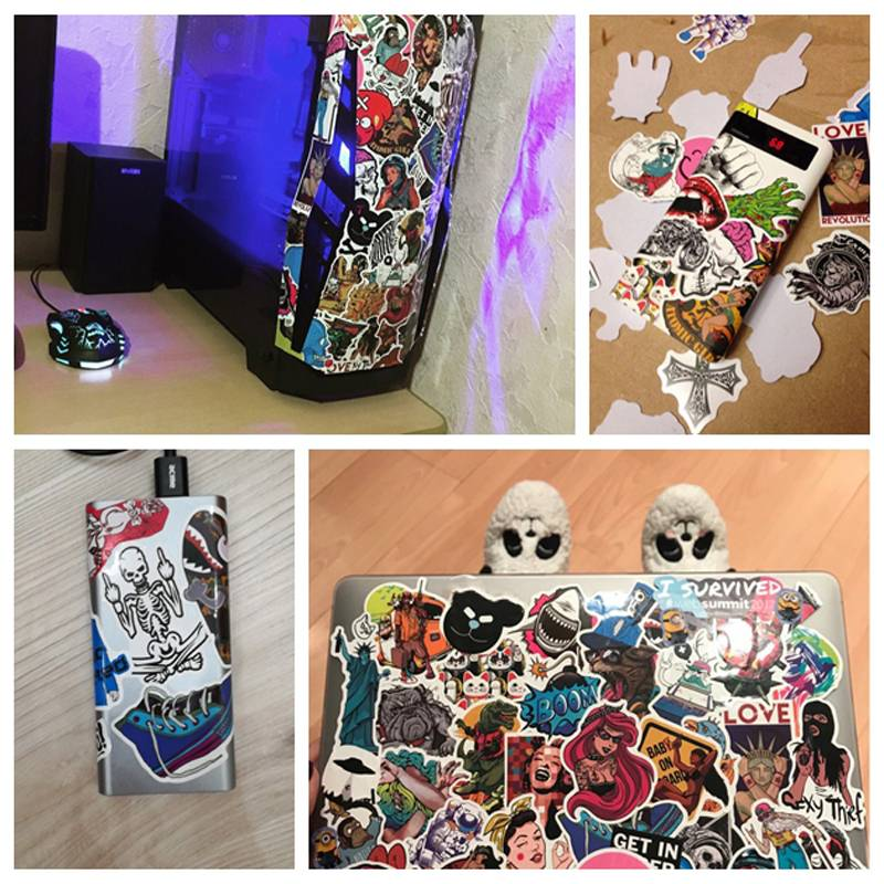100 шт./лот, очень классные стильные Стикеры для багажа, игрушки, наклейки для автомобиля, ПВХ, водонепроницаемые Стикеры для ноутбука, мотоцикла, скейтборда