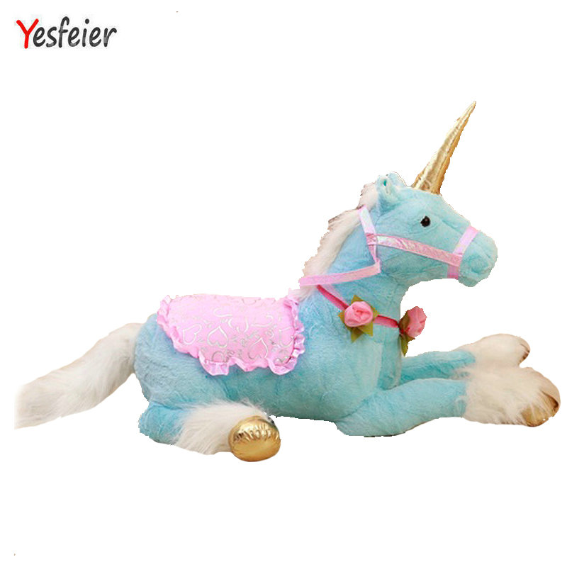 Drop 90cm Blue Unicorn Horse plush toys stuffed plush horse cloth doll stuffed plush animals doll birthday gift For Chidlren bookfong 1pc 35cm simulation horse plush toy stuffed animal horse doll prop toys great gift for children
