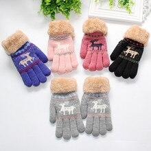 Забавный Милый утолщенный Рождественский с оленями для маленьких мальчиков и девочек, зимние теплые перчатки для рождественской вечеринки, 9,11