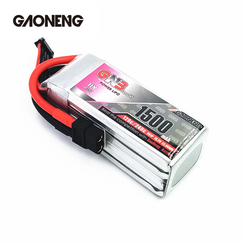 GaoNeng GNB 4S 15.2V 1500mAh Lipo Battery with XT60 Connector for Racing Drone Quadcopter Multicopter Rotor Parts gaoneng gnb 11 1v 350mah 50c 100c 3s lipo battery jst xt30 plug connector for rc racing drone fpv quadcopter toy spare parts