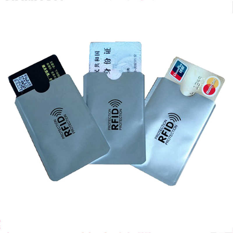 1/10/100Pcs 9.6*6cm Aluminium Anti Rfid Wallet Blocking Reader Lock Bank Card Holder ID Bank Card Case Protection Metal