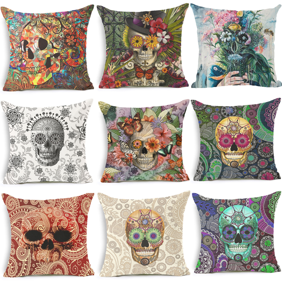 homing punk cushion covers for sofa throw pillow cover decorative pillow case skull cushion cover cotton - Decorative Pillows Cheap