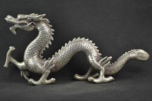 Collectible Old Decorated Miao Silver Carving Lifelike Dragon Rare Noble Statues