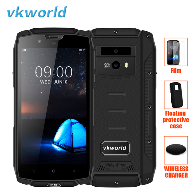 """Vkworld VK7000 IP68 Smartphone 5.2"""" Face ID Wireless Charger Android 8.0 Octa Core 4GB+64GB Waterproof Fingerprint 4G LTE Phone"""