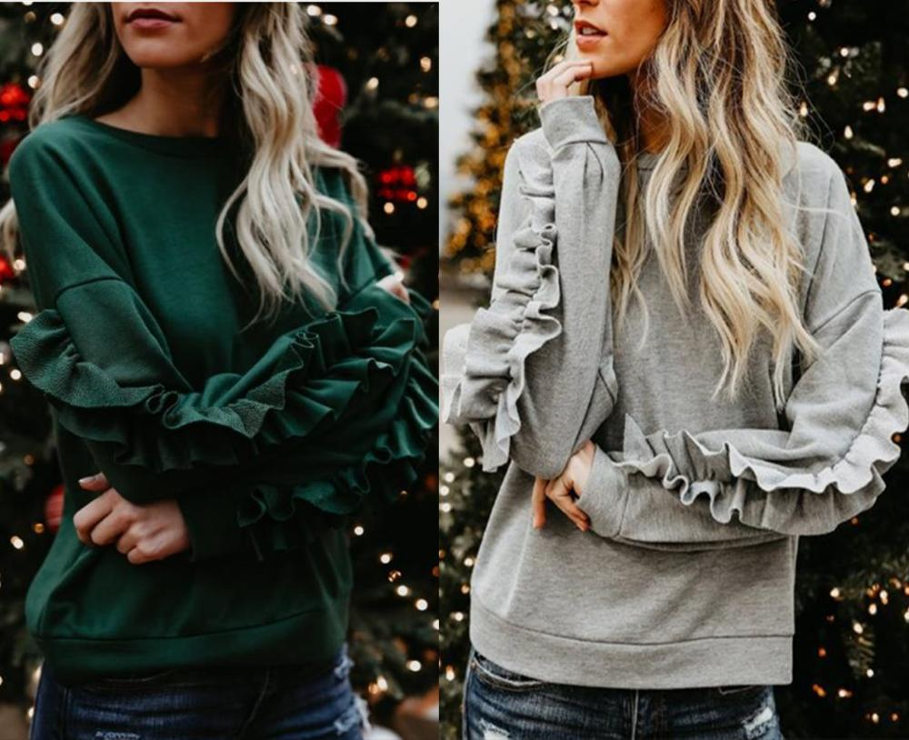 2019 New Wooden ear Sweatshirt Women Spring Autumn Long Sleeve Casual Size S-XL O-Neck 01