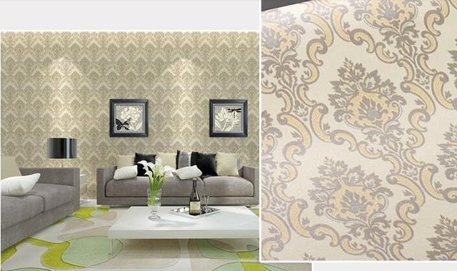 Self Adhesive Damask Wallpaper 10 Mtrs Vinyl Contact Paper