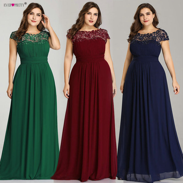 Ever Pretty Plus Size Evening Dresses 2019 New Arrival Elegant A Line Chiffon Open Back Long Lace Formal Party Gowns EP09993 2