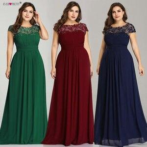 Image 2 - Ever Pretty Plus rozmiar suknie wieczorowe 2020 New Arrival elegancka linia szyfonowa bez pleców długa koronka formalne sukienki na przyjęcie EP09993