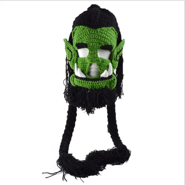 2018 novelty mens caps handmade crochet winter warm hats warcraft game thrall masks funny halloween xmas