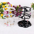 Wholesale 4Pcs Transparent/Black Plastic Earring Display Jewelry Stand Holder 2 Layers 72 Holes 120522LJ-ES01
