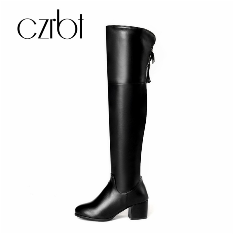 Over-the-knee Boots Shoes Contemplative Czrbt 2018 New Autumn Winter Female Boot Middle Leg Square Heel Warm Warm Fashion Simple Comfortable Belt Leisure Woman Shoe To Ensure Smooth Transmission