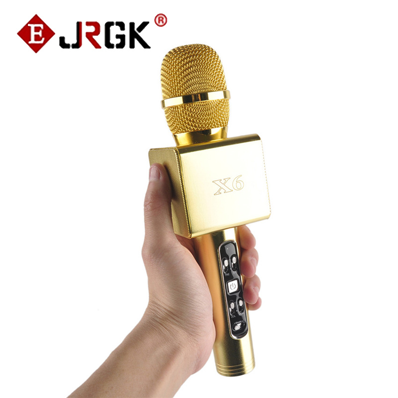 2017 NEW Mic X6  Bluetooth Wireless Karaoke Microphone Professional Player HIFI speaker With Carring Case For Iphone Android  k068 wireless microphone microfone with mic speaker condenser mini karaoke player ktv singing record for smart phones computer