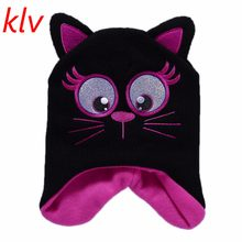 Kids Girls Warm Knit Hats Cartoon Pointed Ears Cat Baby Boy Cotton Winter Hats For 1-5 Years(China)