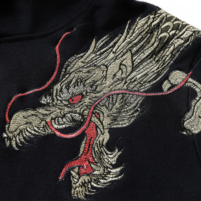Dragon Embroidery Fleece Coat National Giant Popular Hoodie Yes Hooded Casual Animal Cotton None Hoodies Hip Hop New Arrival