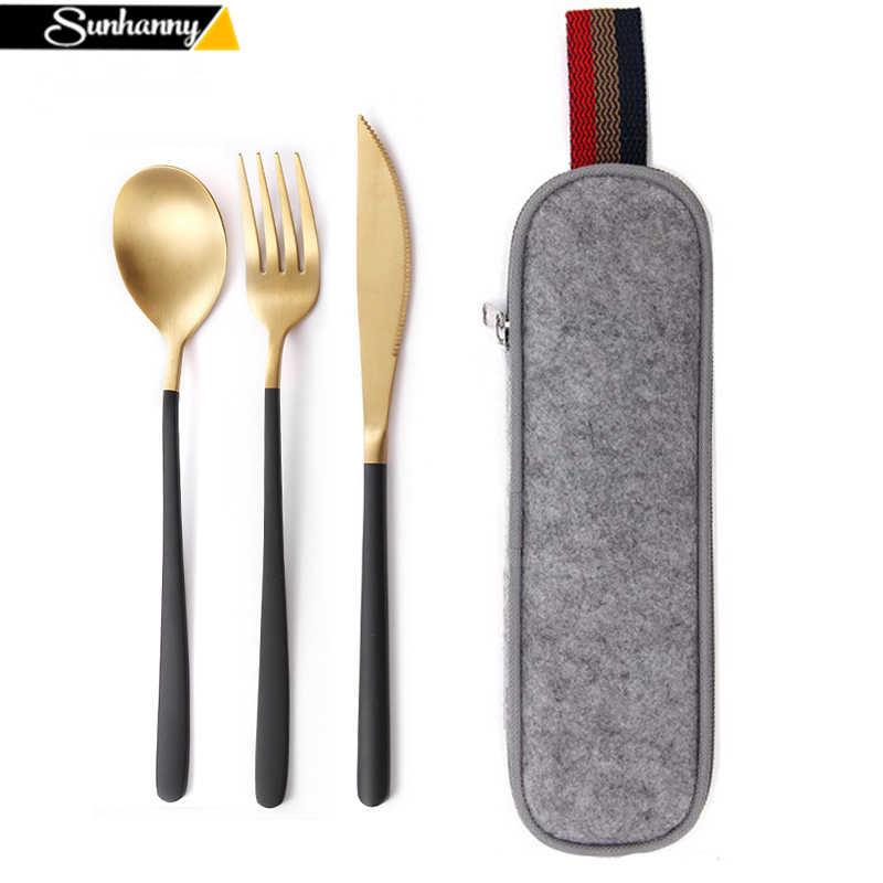 ชุดอาหารเย็นชุดช้อนส้อมบนโต๊ะอาหาร Reusable เครื่องครัวชุดช้อนส้อมตะเกียบฟางและแบบพกพา