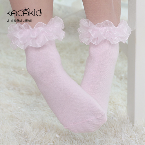 Kacakid Girls Dress Socks Solid Pink White Summer Cotton Lace Ruffle Ankle Non Slip Princess Baby Socks