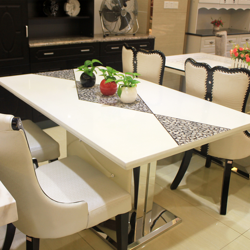 Korean fashion long table white dining table small apartment ...
