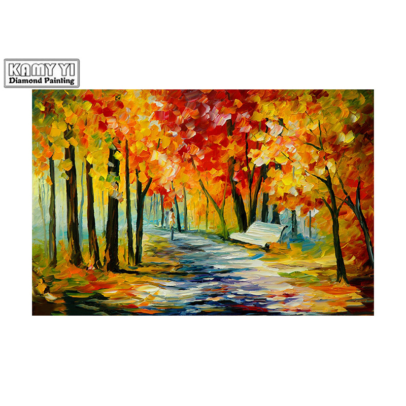 100% Full 5D Diy Square/Round Diamond Bench, autumn tree 3D Diamond Painting Rhinestones Paintings Embroidery D2