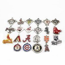 Hot Sale Mixs 20pcs/lot Enamel Sports Pendant MLB Baseball Teams Dangle Charms Fit Bracelet Earrings Necklace Making Jewelry