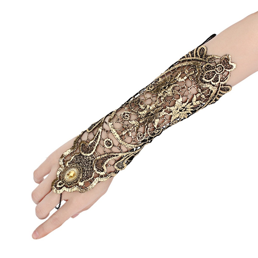 Sexy Women Ladies Steampunk Goth Party Costume Gold Lace Fingerless Gloves