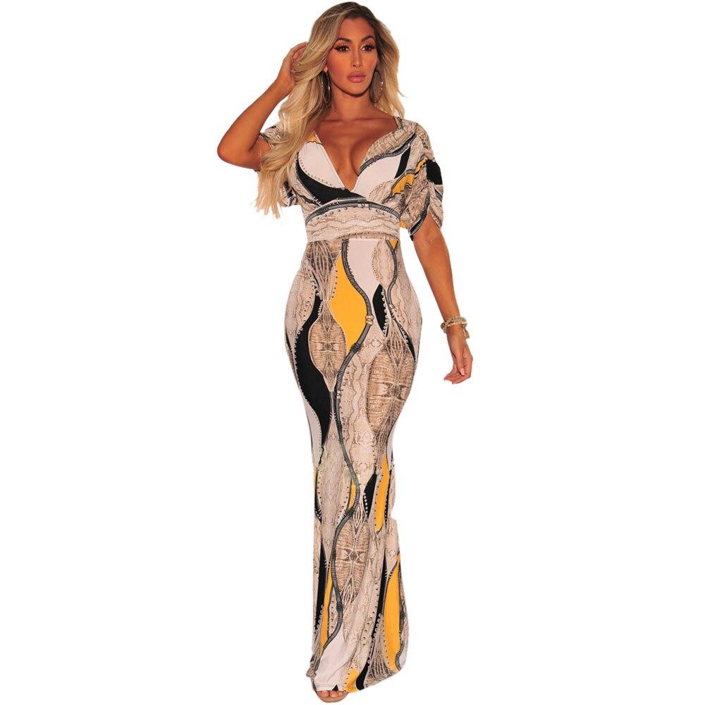 JIZHENGHOUSE Women Long Maxi Dresses V-neck Short Sleeve Print Ethnic Summer Beach Female Stylish Style Party Elegant Dress