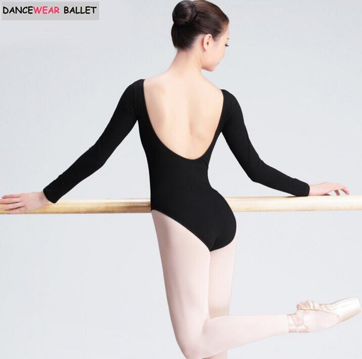72d8dfb1e57f Adult Black Long Sleeve Ballet Dance Gymnastics Leotards Women Bodysuit  Sexy Leotard Cotton Spandex Unitard Dancewear