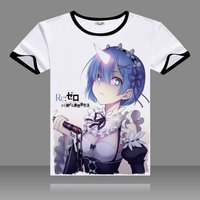 Re Zero Kara Hajimeru Isekai Cosplay T Shirts Black O Neck Short Sleeve Emilia Ram Print