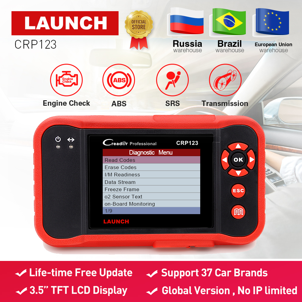 Launch X431 CRP123 obd2 code reader Scanner test Engine/ABS/SRS/AT X-431 CRP 123 Auto Diagnostic Tool free update creader vii+ launch x431 obd2 automotive diagnostic scanner obd2 bluetooth adpater mdiag elm327 update online enhanced code reader