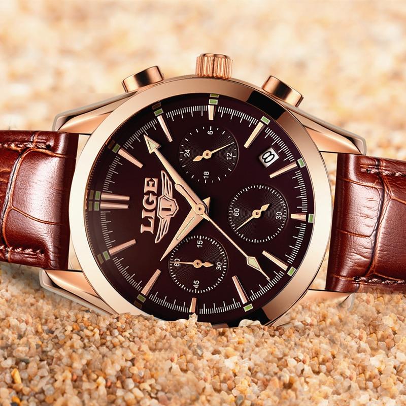 2017 New Fashion Man Watches Top Luxury LIGE Brand Quartz-watch Leather Strap Waterproof Male Business Watches relogio masculino Multan