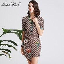 MoaaYina Fashion Designer Set Spring Women Short sleeve V-neck Plaid Floral-Print Tops+Asymmetrical Short skirt Two-piece suit stylish short sleeve pink knitwear and floral skirt women s suit